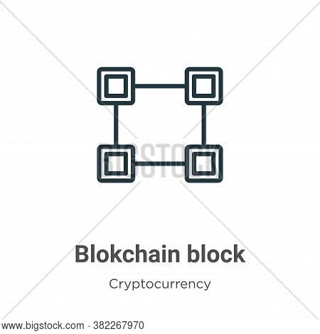 Blokchain block icon isolated on white background from cryptocurrency collection. Blokchain block ic