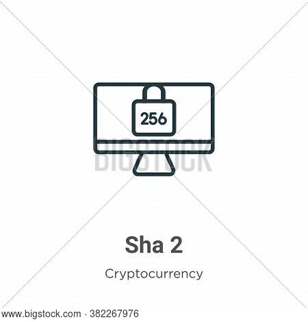 Sha 2 icon isolated on white background from cryptocurrency collection. Sha 2 icon trendy and modern