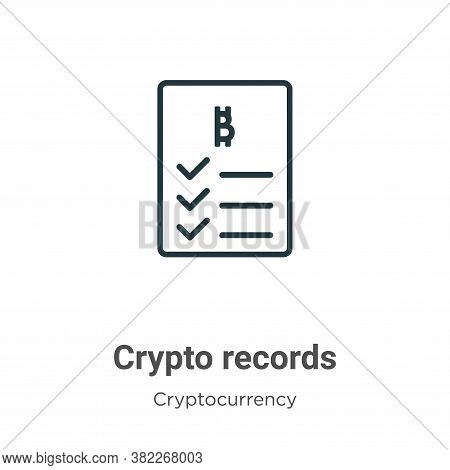 Crypto records icon isolated on white background from cryptocurrency collection. Crypto records icon