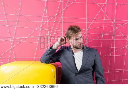 Man Formal Elegant Suit Lean On Retro Vintage Yellow Refrigerator. Bachelor Elegant Guy Think What E