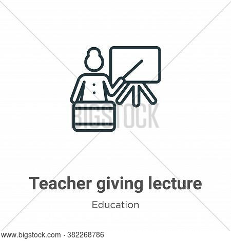Teacher giving lecture icon isolated on white background from education collection. Teacher giving l