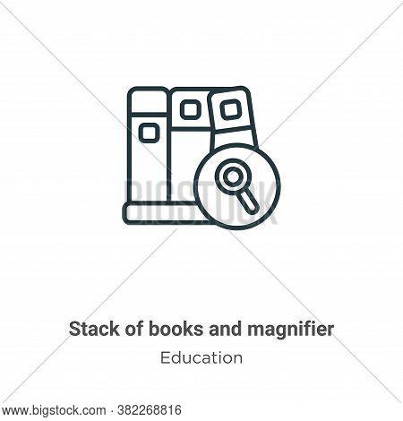 Stack of books and magnifier icon isolated on white background from education collection. Stack of b