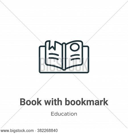 Book with bookmark icon isolated on white background from education collection. Book with bookmark i