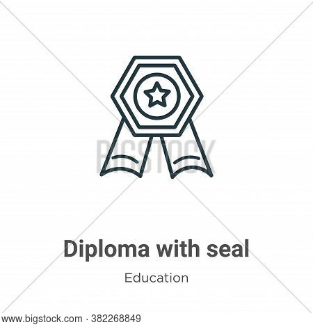 Diploma with seal icon isolated on white background from education collection. Diploma with seal ico