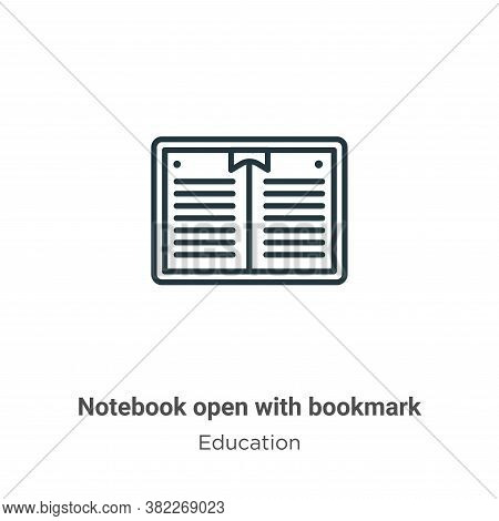 Notebook open with bookmark icon isolated on white background from education collection. Notebook op