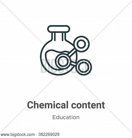 Chemical content icon isolated on white background from education collection. Chemical content icon