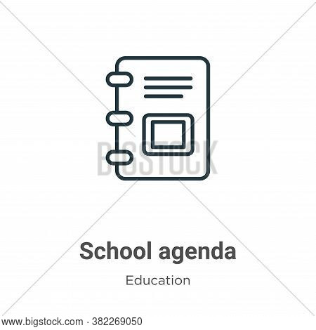 School agenda icon isolated on white background from education collection. School agenda icon trendy