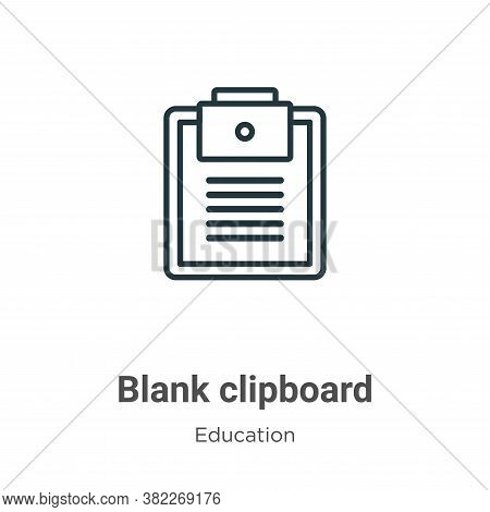 Blank clipboard icon isolated on white background from education collection. Blank clipboard icon tr