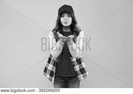 Let Your Look Speak For Itself. Small Child Blow Kiss Pink Background. Beauty Look Of Little Girl. A