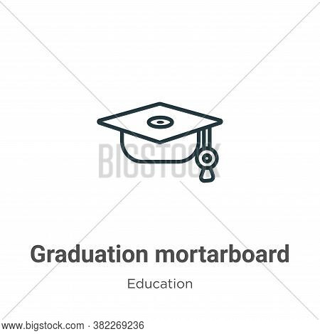 Graduation mortarboard icon isolated on white background from education collection. Graduation morta