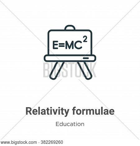 Relativity formulae icon isolated on white background from education collection. Relativity formulae
