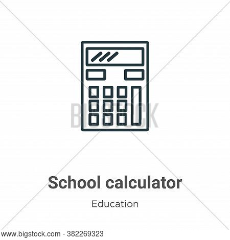 School calculator icon isolated on white background from education collection. School calculator ico
