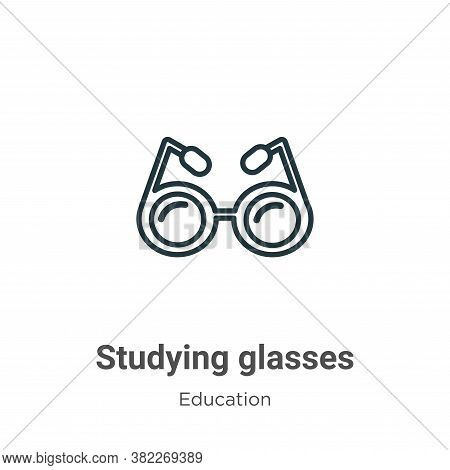 Studying glasses icon isolated on white background from education collection. Studying glasses icon