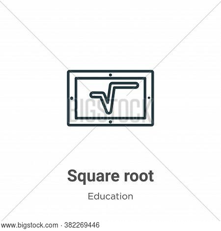 Square root icon isolated on white background from education collection. Square root icon trendy and