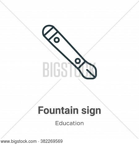 Fountain sign icon isolated on white background from education collection. Fountain sign icon trendy