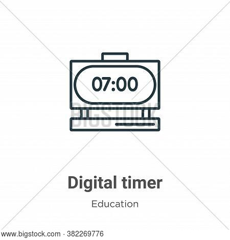 Digital timer icon isolated on white background from education collection. Digital timer icon trendy
