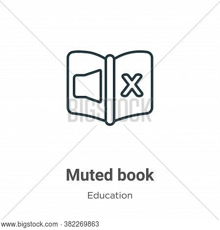 Muted book icon isolated on white background from education collection. Muted book icon trendy and m