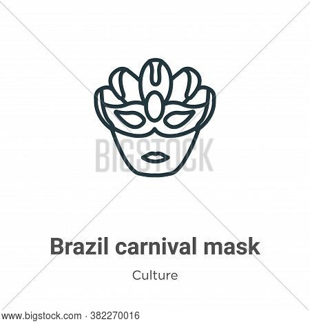 Brazil carnival mask icon isolated on white background from culture collection. Brazil carnival mask