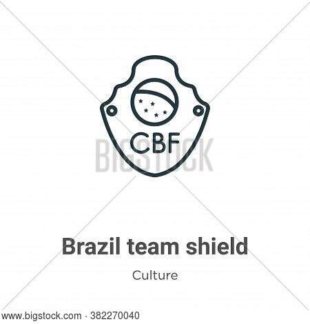 Brazil team shield symbol icon isolated on white background from culture collection. Brazil team shi