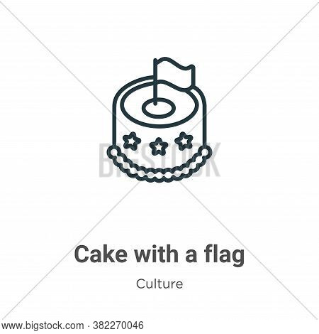Cake with a flag icon isolated on white background from culture collection. Cake with a flag icon tr