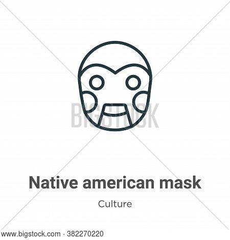 Native american mask icon isolated on white background from culture collection. Native american mask