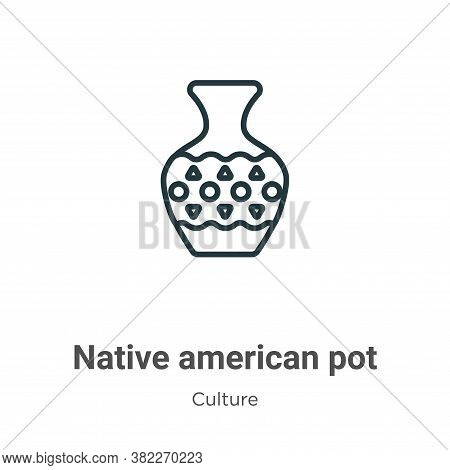 Native american pot icon isolated on white background from culture collection. Native american pot i