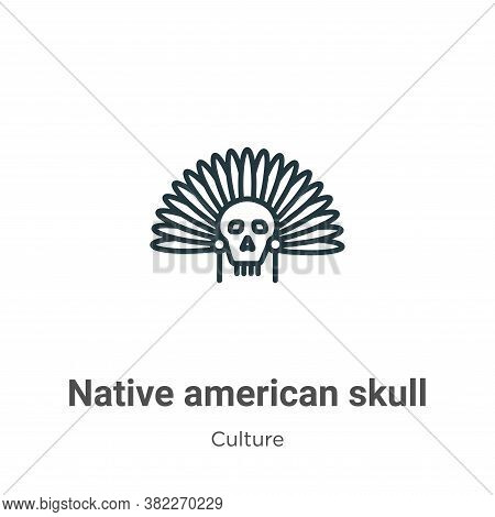 Native american skull icon isolated on white background from culture collection. Native american sku