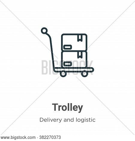 Trolley icon isolated on white background from delivery and logistic collection. Trolley icon trendy
