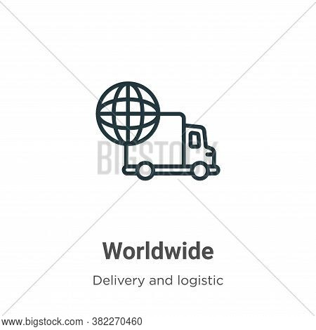 Worldwide icon isolated on white background from delivery and logistic collection. Worldwide icon tr
