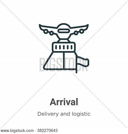 Arrival icon isolated on white background from delivery and logistics collection. Arrival icon trend