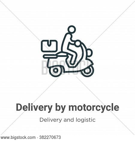 Delivery by motorcycle icon isolated on white background from delivery and logistics collection. Del