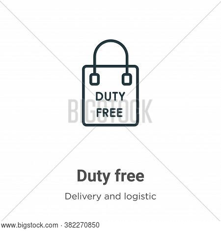 Duty free icon isolated on white background from delivery and logistics collection. Duty free icon t