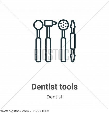 Dentist tools icon isolated on white background from dentist collection. Dentist tools icon trendy a