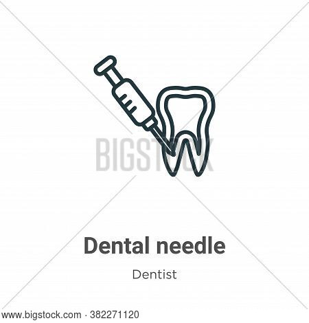 Dental needle icon isolated on white background from dentist collection. Dental needle icon trendy a