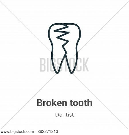 Broken tooth icon isolated on white background from dentist collection. Broken tooth icon trendy and