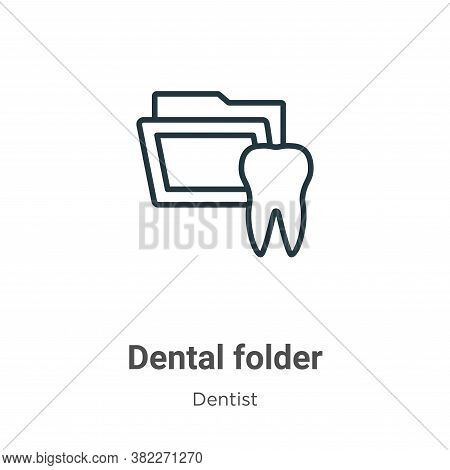 Dental folder icon isolated on white background from dentist collection. Dental folder icon trendy a