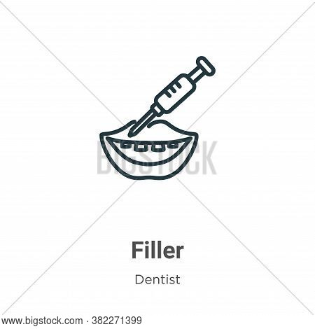 Filler icon isolated on white background from dentist collection. Filler icon trendy and modern Fill