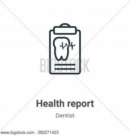 Health report icon isolated on white background from dentist collection. Health report icon trendy a