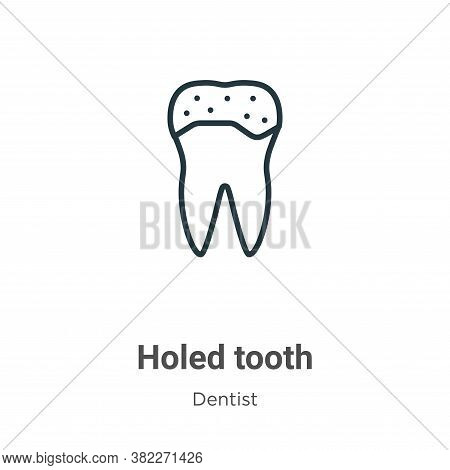 Holed tooth icon isolated on white background from dentist collection. Holed tooth icon trendy and m