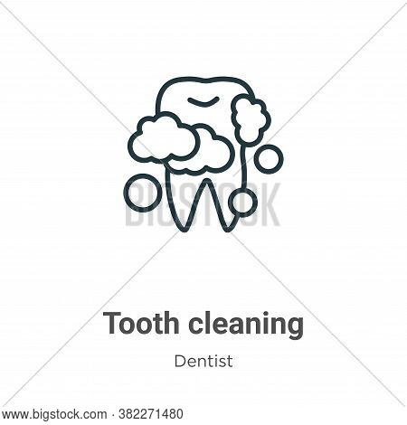 Tooth cleaning icon isolated on white background from dentist collection. Tooth cleaning icon trendy