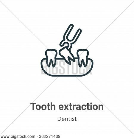 Tooth extraction icon isolated on white background from dentist collection. Tooth extraction icon tr