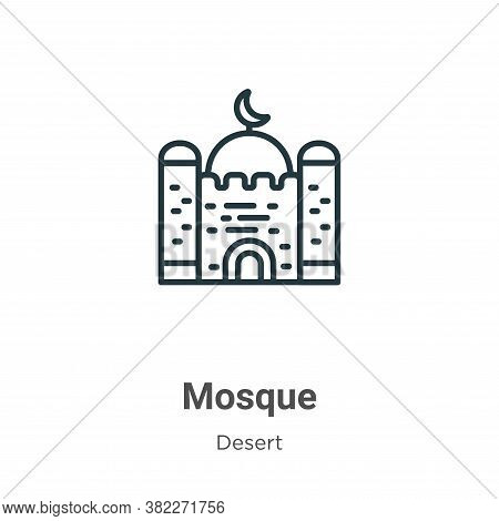 Mosque icon isolated on white background from desert collection. Mosque icon trendy and modern Mosqu