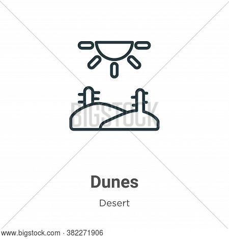 Dunes icon isolated on white background from desert collection. Dunes icon trendy and modern Dunes s