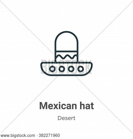 Mexican hat icon isolated on white background from desert collection. Mexican hat icon trendy and mo