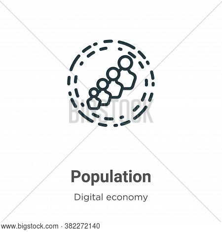 Population icon isolated on white background from digital economy collection. Population icon trendy