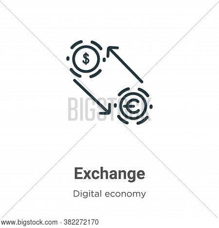 Exchange icon isolated on white background from digital economy collection. Exchange icon trendy and