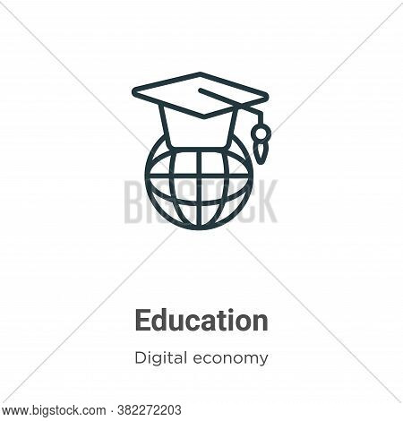 Education icon isolated on white background from digital economy collection. Education icon trendy a