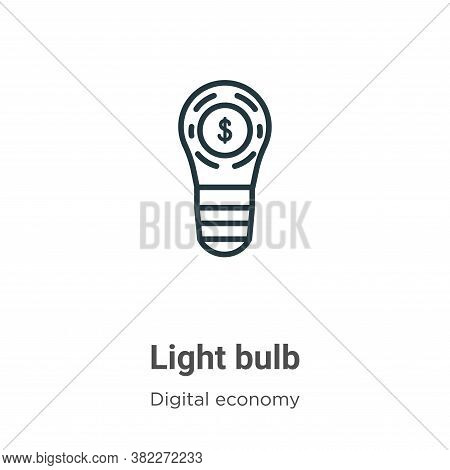 Light bulb icon isolated on white background from digital economy collection. Light bulb icon trendy