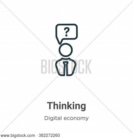 Thinking icon isolated on white background from digital economy collection. Thinking icon trendy and