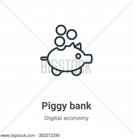 Piggy bank icon isolated on white background from digital economy collection. Piggy bank icon trendy